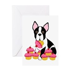 Boston Terrier with Cupcakes Greeting Card