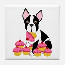 Boston Terrier with Cupcakes Tile Coaster