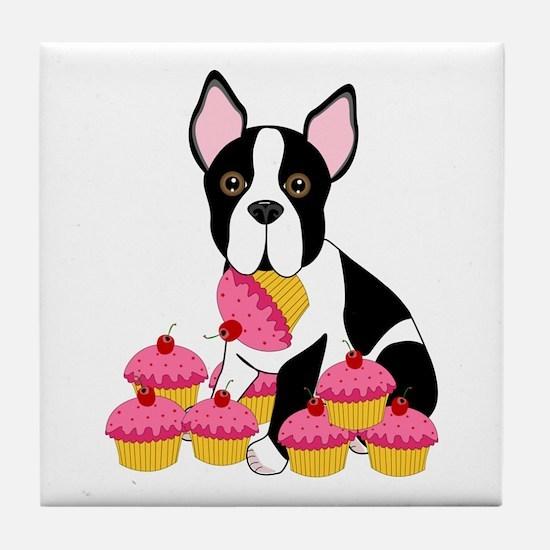 Boston Terrier with Cupcakes Tile Coaster