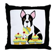 Boston Terrier Cupcakes Throw Pillow