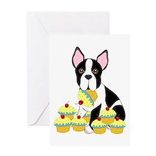 Boston Terrier Cupcakes Greeting Card