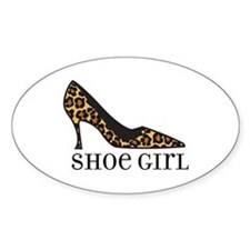 shoe girl Oval Decal