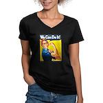 Vintage Rosie the Riveter Women's V-Neck Dark T-Sh