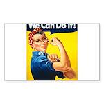 Vintage Rosie the Riveter Rectangle Sticker 50 pk