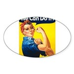 Vintage Rosie the Riveter Oval Sticker (50 pk)