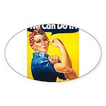 Vintage Rosie the Riveter Oval Sticker (10 pk)