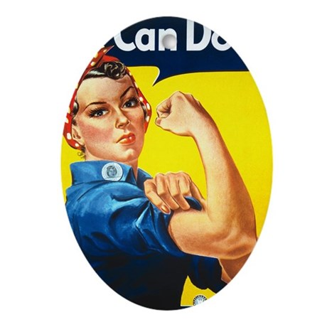 Vintage Rosie the Riveter Oval Ornament