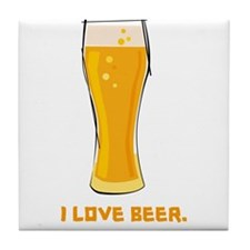 I Love Beer Tile Coaster