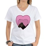 Chocolate Lab Heart Dog Women's V-Neck T-Shirt