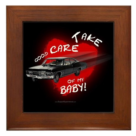 Baby - with text (black) Framed Tile