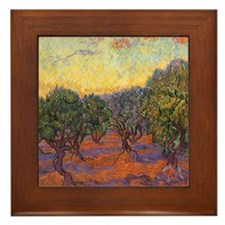 Van Gogh Olive Grove Orange Sky Framed Tile