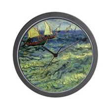 Van Gogh Seascape at Saintes Maries Wall Clock