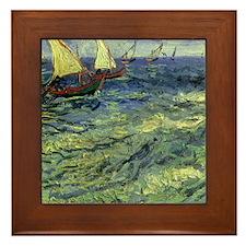 Van Gogh Seascape at Saintes Maries Framed Tile