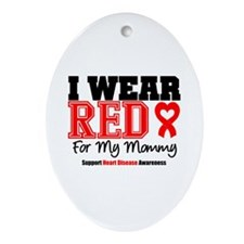 I Wear Red Mommy Oval Ornament