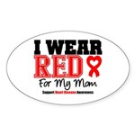 I Wear Red Mom Oval Sticker (10 pk)