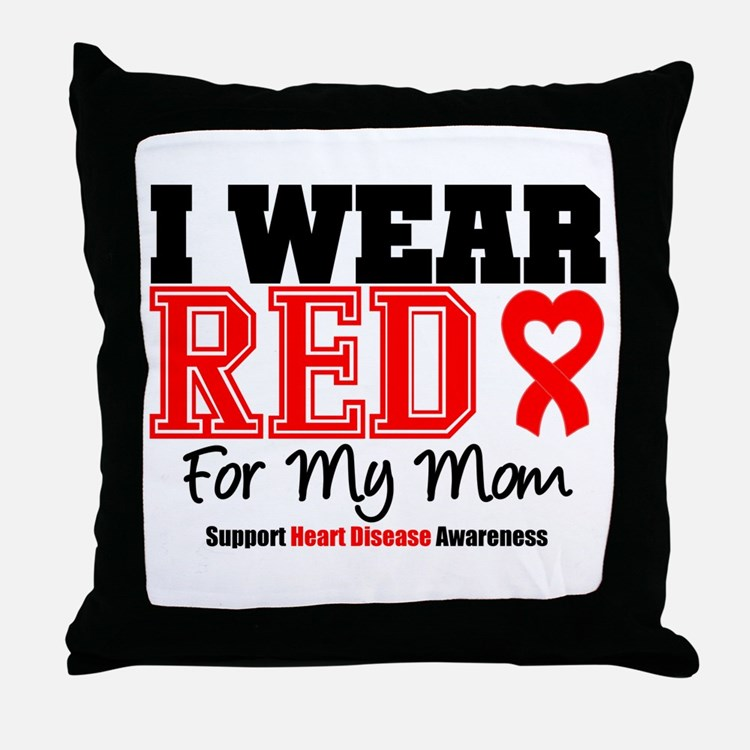 I Wear Red Mom Throw Pillow
