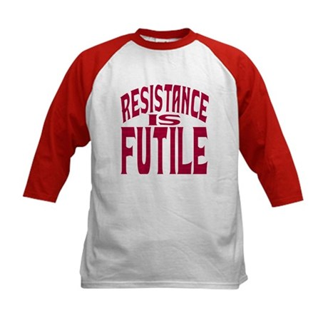Resistance is Futile (red text) Kids Baseball Jers