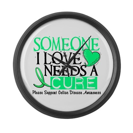 Needs A Cure CELIAC DISEASE Large Wall Clock