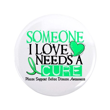"Needs A Cure CELIAC DISEASE 3.5"" Button (100 pack)"