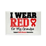I Wear Red Grandpa Rectangle Magnet (10 pack)