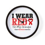 I Wear Red Grandpa Wall Clock