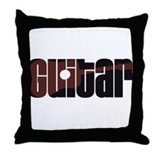 Acoustic Guitar Rust Throw Pillow