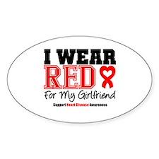 I Wear Red Girlfriend Oval Decal