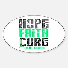 HOPE FAITH CURE Celiac Disease Oval Decal