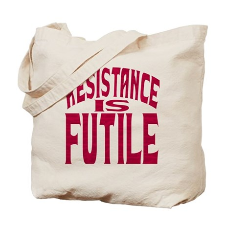 Resistance is Futile (red text) Tote Bag