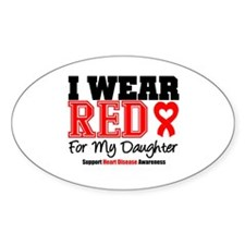 I Wear Red Daughter Oval Decal