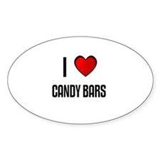 I LOVE CANDY BARS Oval Decal