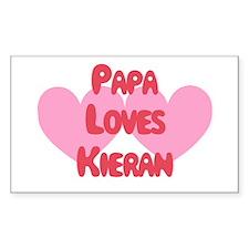 Papa Loves Kieran Rectangle Decal