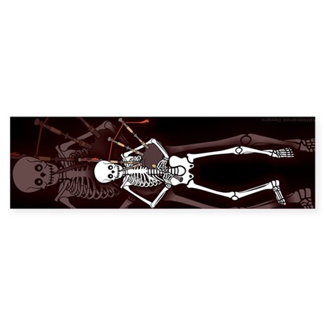 Bagpipes Playing Skeleton Sticker (Bumper)