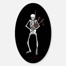 Bagpipes Playing Skeleton Sticker (Oval)