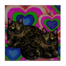 TORTOISESHELL CATS BE MY VALENTINE Tile Coaster