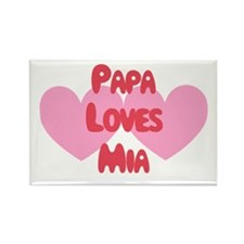 Papa Loves Mia Rectangle Magnet