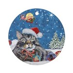 Christmas Maine Coon Cat Ornament (Round)