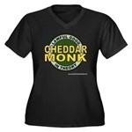Cheddar Monk Women's Plus Size V-Neck Dark T-Shirt