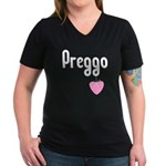 Preggo Heart Women's V-Neck Dark T-Shirt