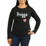 Preggo Heart Women's Long Sleeve Dark T-Shirt