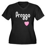 Preggo Heart Women's Plus Size V-Neck Dark T-Shirt