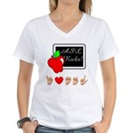 I Love ASL Female Women's V-Neck T-Shirt