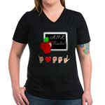 I Love ASL Female Women's V-Neck Dark T-Shirt