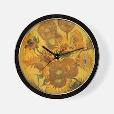 Van Gogh Vase w Sunflowers Wall Clock