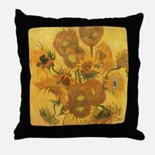 Van Gogh Vase w Sunflowers Throw Pillow