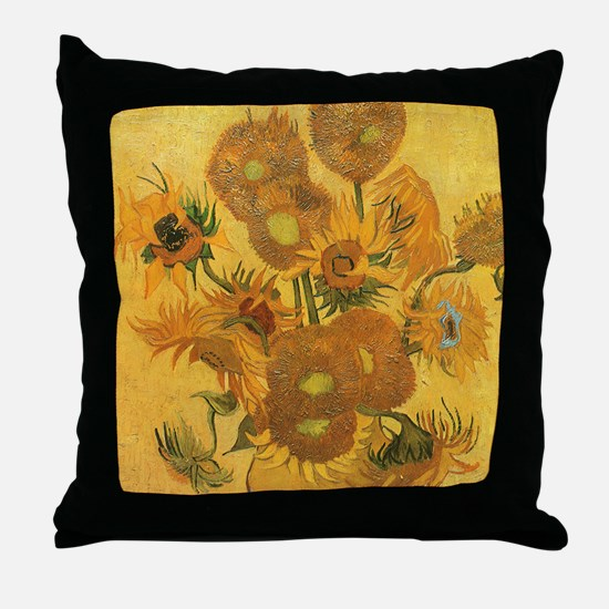 Van Gogh Vase w Sunflowers Throw Pillow
