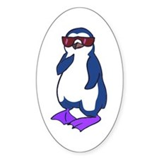 Cool Penguin 2 Oval Decal