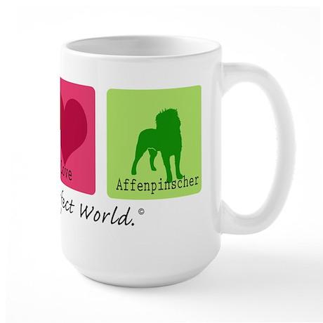 Peace Love Affenpinscher Large Mug