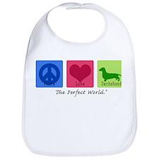 Peace Love Dachshund Bib