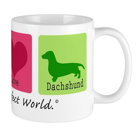 Peace Love Dachshund Mug